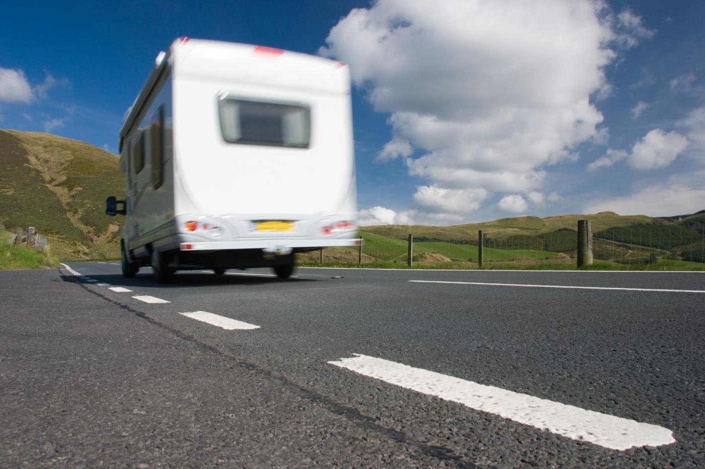 Motorhome driving on British road